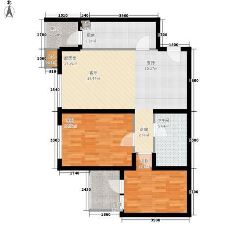 和平里de小镇2室0厅1卫1厨96.00㎡户型图