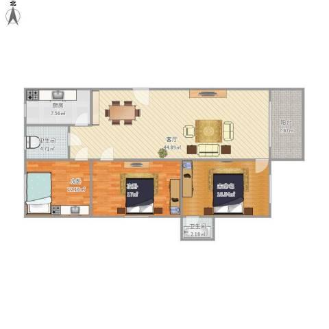 华鸿花园2室1厅2卫1厨150.00㎡户型图