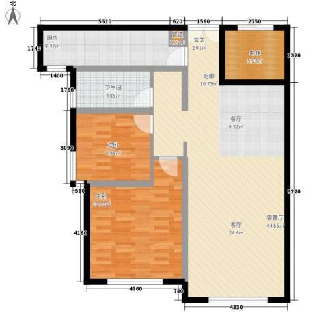 三园新城佳苑2室1厅1卫1厨89.18㎡户型图