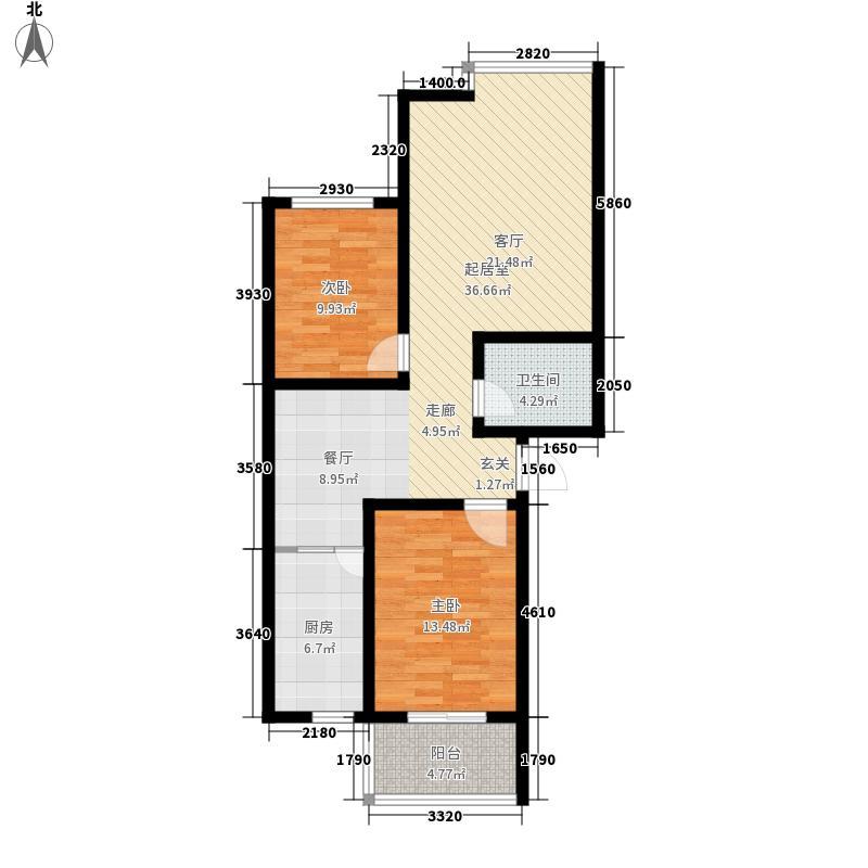 都市e线87.00㎡都市e线户型图D2-872室2厅1卫户型2室2厅1卫