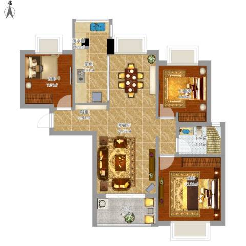 瑜翠园3室1厅1卫1厨98.00㎡户型图