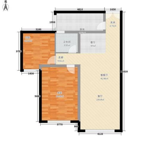三园新城佳苑2室1厅1卫1厨82.22㎡户型图