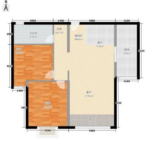 三园新城佳苑2室1厅1卫1厨93.67㎡户型图