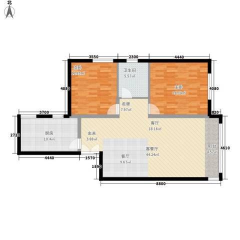 三园新城佳苑2室1厅1卫1厨89.40㎡户型图