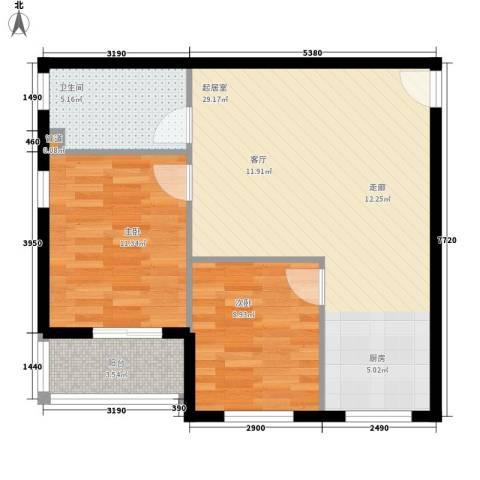 香山花园2室0厅1卫0厨64.98㎡户型图