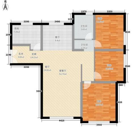 三园新城佳苑3室1厅1卫1厨116.00㎡户型图