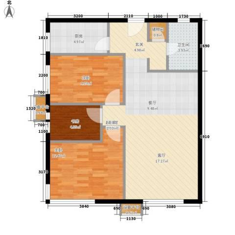 博客雅居3室0厅1卫1厨104.00㎡户型图