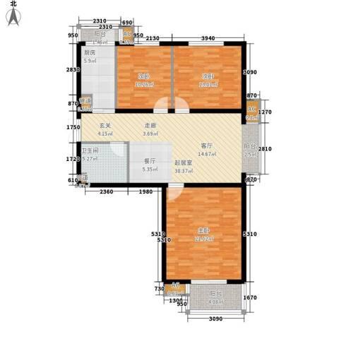 陶然居3室0厅1卫1厨106.00㎡户型图