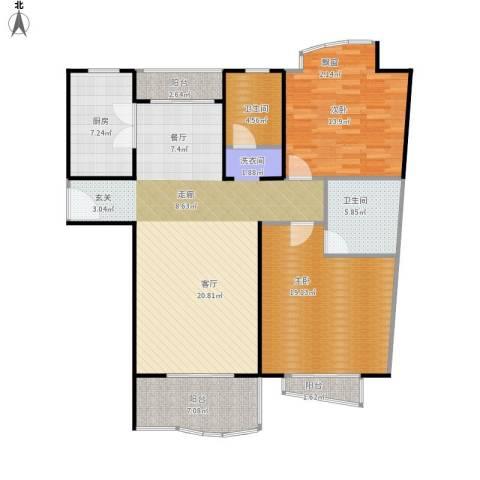 滨江名人苑2室1厅2卫1厨142.00㎡户型图