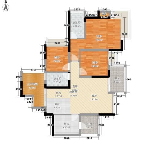劲力五星城3室0厅2卫1厨132.00㎡户型图