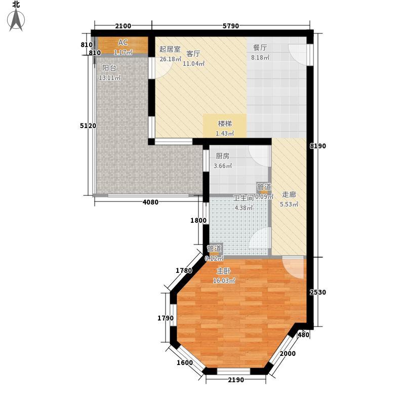 首邑溪谷73.00㎡15号楼C3(售完)户型1室1厅1卫1厨