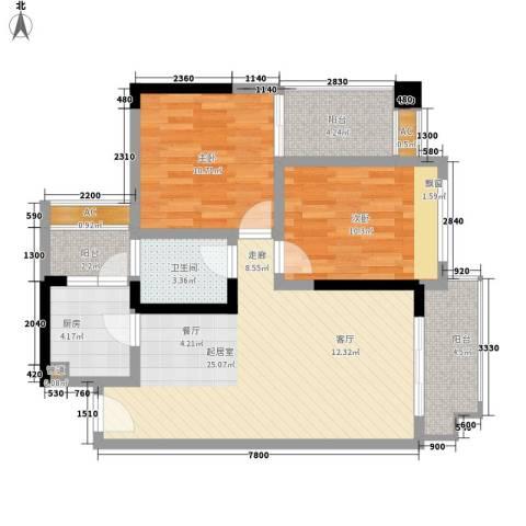 兴发金域丽江2室0厅1卫1厨82.00㎡户型图