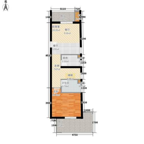 首邑溪谷1室0厅1卫1厨65.00㎡户型图