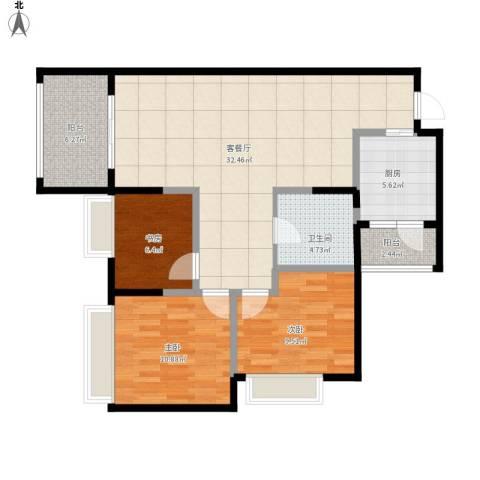 万科悦峰3室1厅1卫1厨111.00㎡户型图