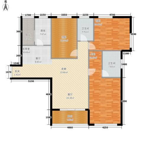 富苑华城3室0厅2卫1厨165.00㎡户型图