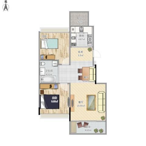 巴黎左岸2室1厅1卫1厨76.00㎡户型图