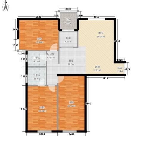 富苑华城3室0厅2卫1厨133.00㎡户型图