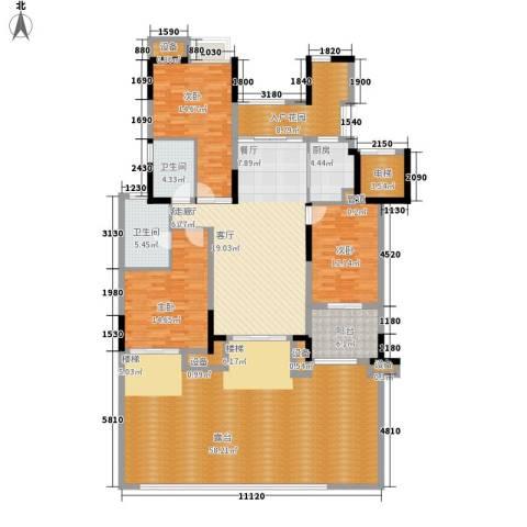 天景雨山前3室1厅2卫1厨167.09㎡户型图