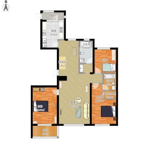 新里海德公馆3室1厅2卫1厨164.00㎡户型图
