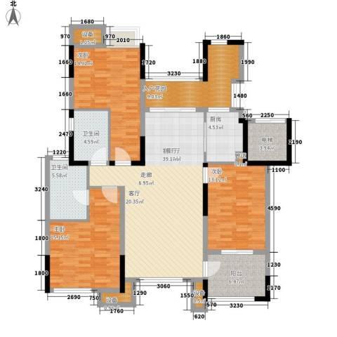 天景雨山前3室1厅2卫1厨124.00㎡户型图