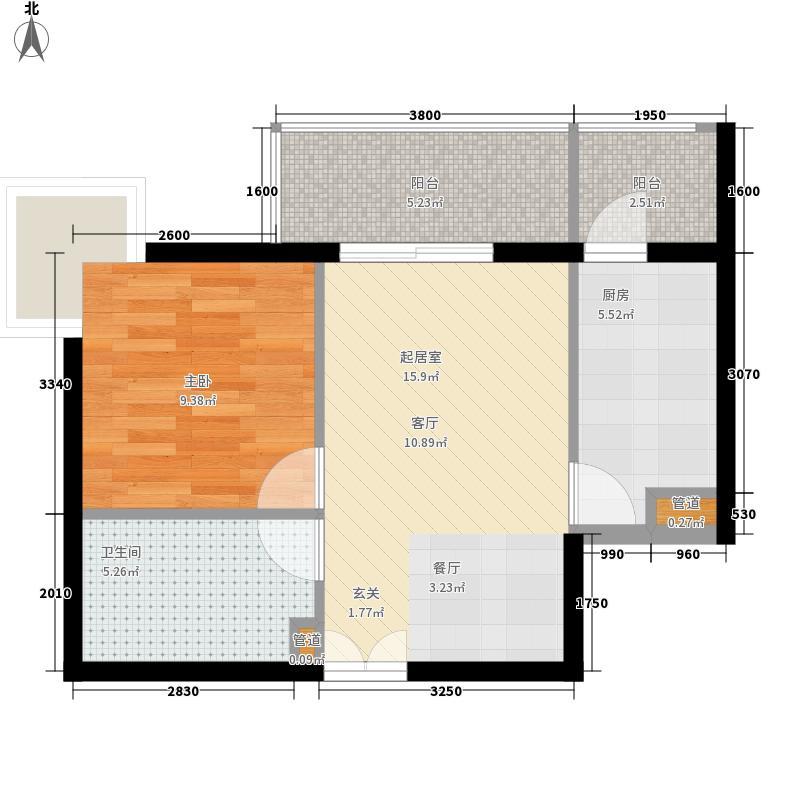 政泰家园61.30㎡A座G1型户型1室1厅1卫1厨