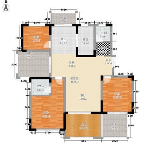 博威香槟小镇3室0厅2卫1厨132.00㎡户型图