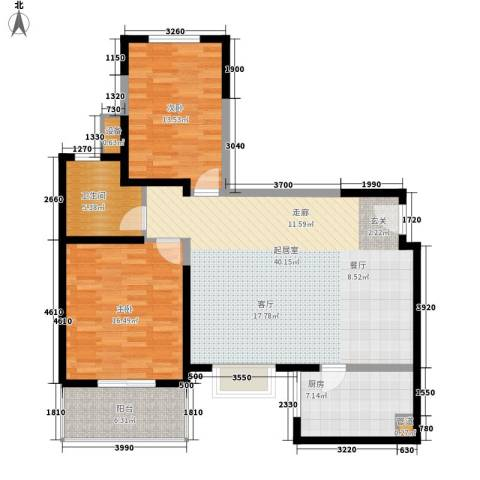 嘉天国际2室0厅1卫1厨126.00㎡户型图