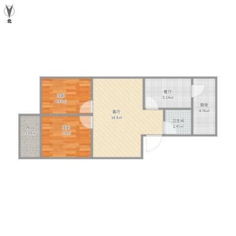 房建楼2室2厅1卫1厨64.00㎡户型图
