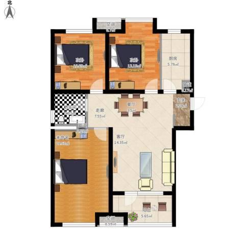 荣盛・白鹭岛2室1厅1卫1厨123.00㎡户型图