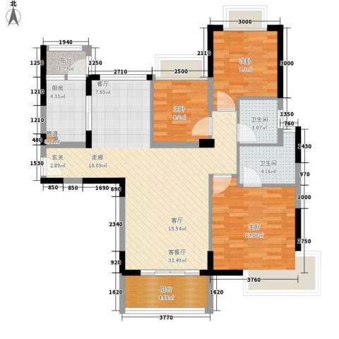 里维埃拉3室1厅2卫1厨114.00㎡户型图