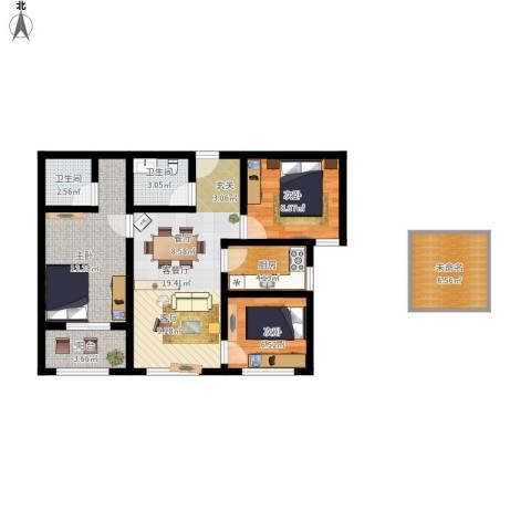 万象春天3室1厅2卫1厨98.00㎡户型图