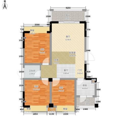 兴发金域丽江3室0厅1卫1厨91.00㎡户型图