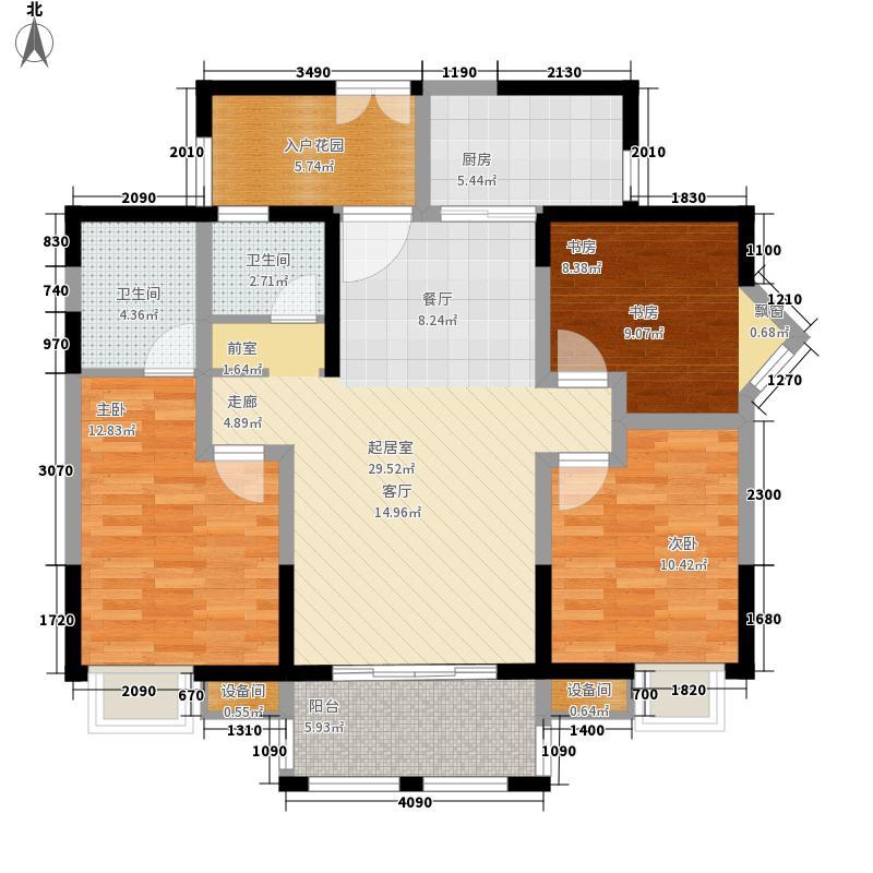 香澜半岛109.00㎡2号楼F3户型3室2厅2卫1厨