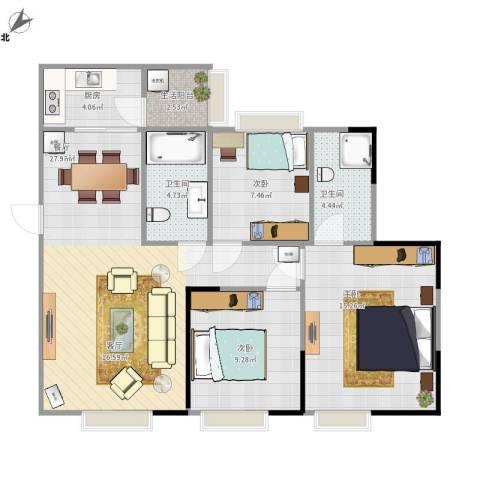 博雅海润广场3室1厅2卫1厨102.00㎡户型图