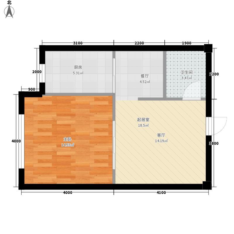 乾和城6.10㎡F3户型1室2厅1卫1厨