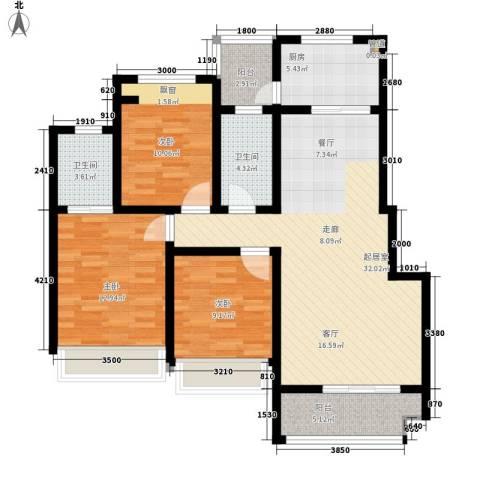 兴发金域丽江3室0厅2卫1厨106.00㎡户型图