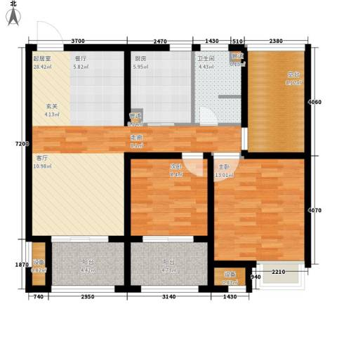 雨润新城2室0厅1卫1厨90.00㎡户型图