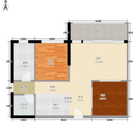 龙泉国际2室0厅1卫1厨73.00㎡户型图