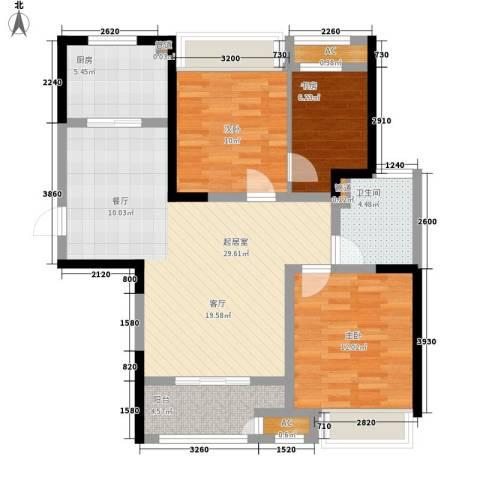 协信阿卡迪亚3室0厅1卫1厨89.00㎡户型图