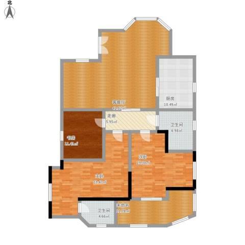 东方巴黎3室1厅2卫1厨192.00㎡户型图