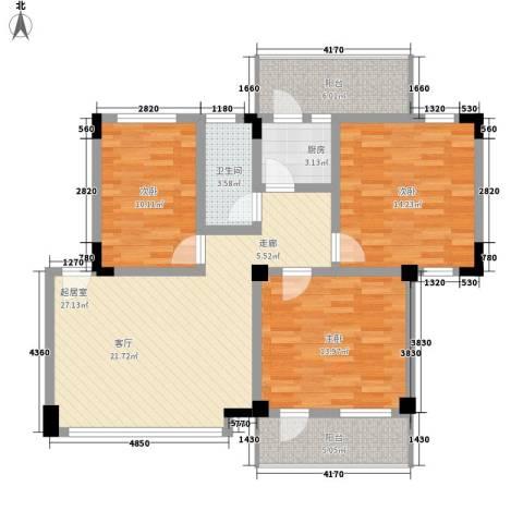 华工紫荆苑3室0厅1卫1厨96.00㎡户型图