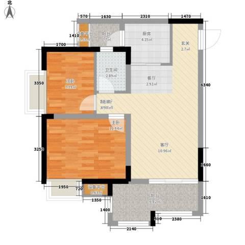 升伟伟清泊客2室1厅1卫1厨62.00㎡户型图