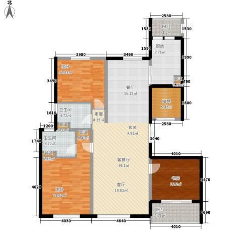 铂金时代3室1厅2卫1厨142.00㎡户型图
