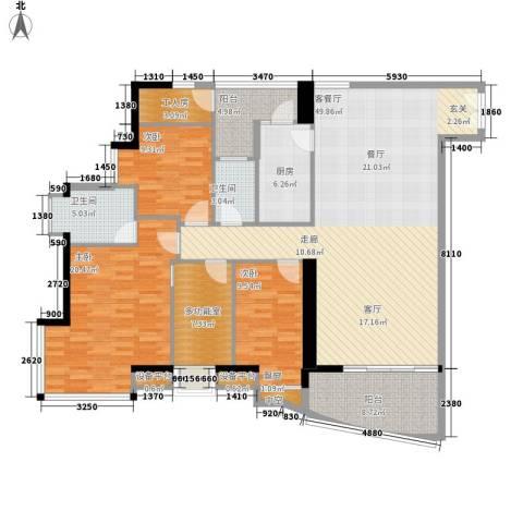 理想蓝堡国际花园3室1厅2卫1厨146.00㎡户型图