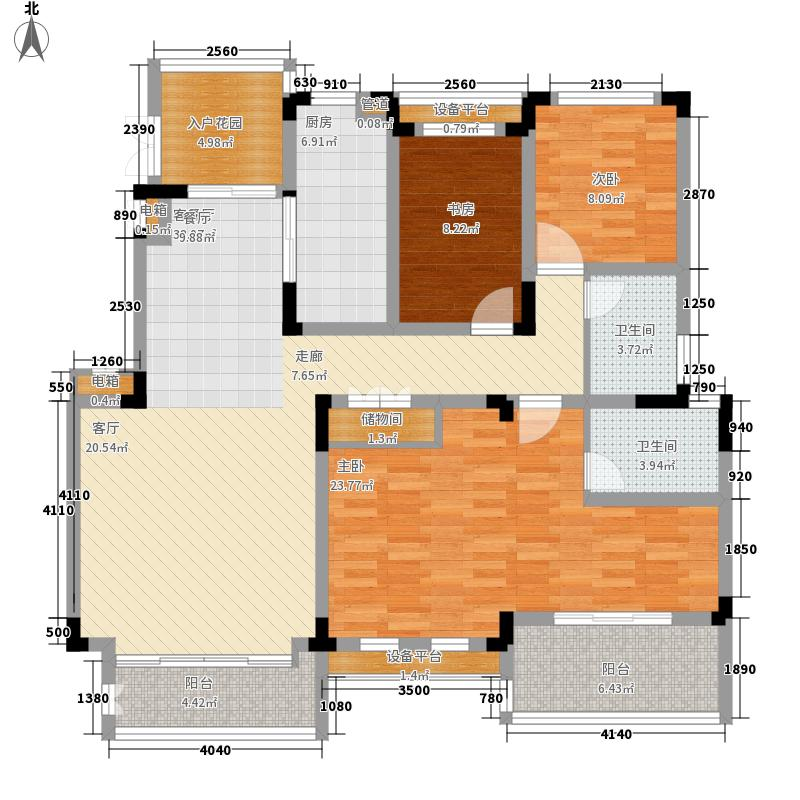 国信世家•璞园132.40㎡洋房L'6户型3室2厅