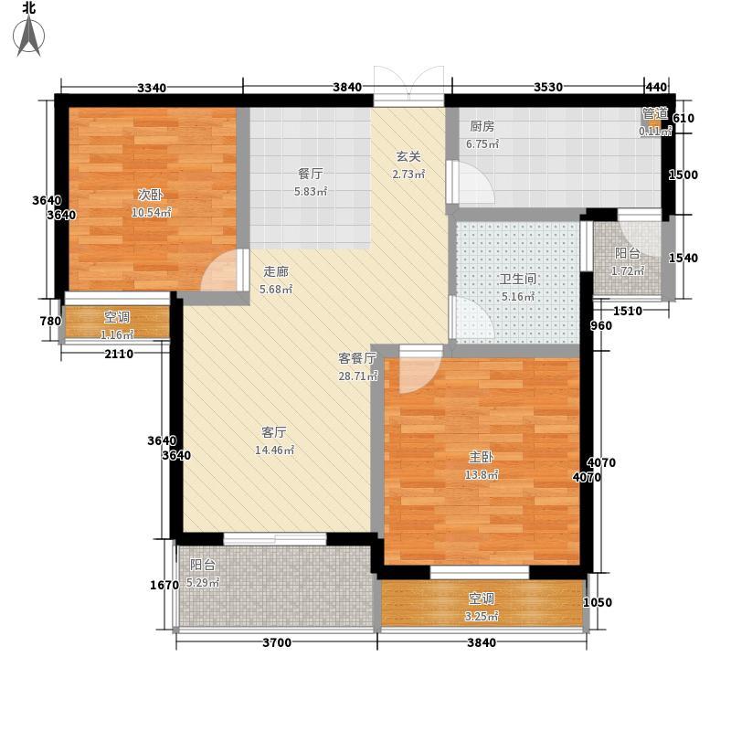 颐园世家一期2#4#B2户型2室2厅1卫1厨