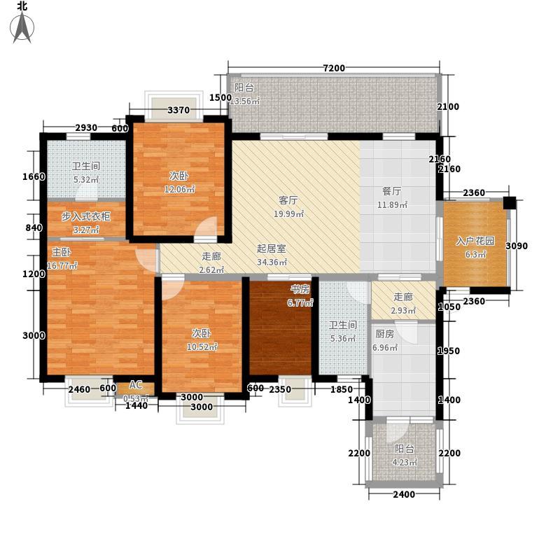 华府金沙六号楼偶数层2号户型3室2厅2卫1厨