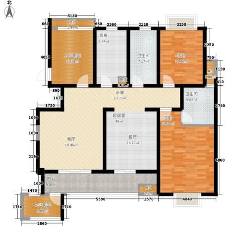 新世纪花园2室0厅2卫1厨145.00㎡户型图