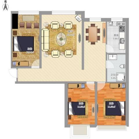 尚品林溪小区3室1厅1卫1厨128.00㎡户型图