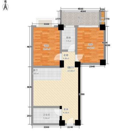 天骄国际2室1厅1卫1厨83.36㎡户型图